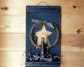 Primitive Decor, Primitive Shutter Shelf w/ Candle, Star and Wreath, Country, Wall Hanging, 18X10, Rough Cut Pine, Handmade, Made in the USA