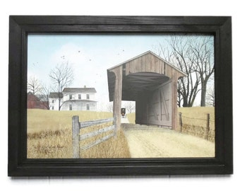 Old Millers Creek Bridge, Covered Bridge, Amish, Billy Jacobs, Art Print, Primitive Decor, Handmade, 21x15, Custom Wood Frame, Made in USA