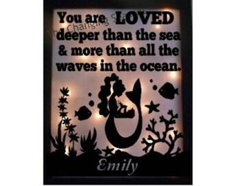 Mermaid theme decor, children's night light, Baby gift, Lit frame with mermaid, baby frame, under the sea lit frame, handmade