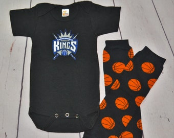 Sacramento Kings Onesie and Legwarmers set! Baby Boy Basketball Set