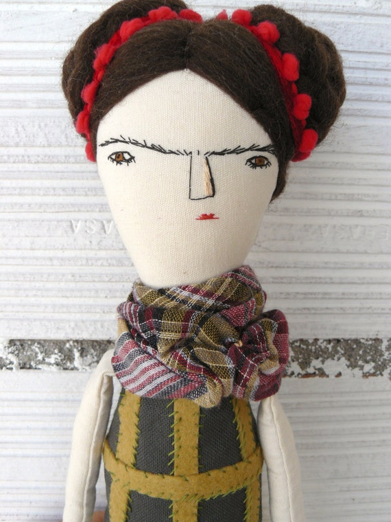 Big Frida Kahlo rag doll. Linen and cotton. Number 5 of my Frida Kahlo's 2016 series. 21,5 inches