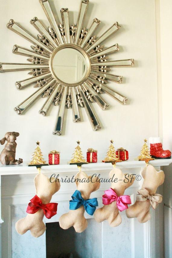 Dog bone christmas stocking unique burlap stocking gifts for for Unique christmas gifts for dog lovers