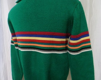 Vintage Green Sweater - (Men's: Small/Medium), Zippered Collar, Kelly Green, Striped Sweater