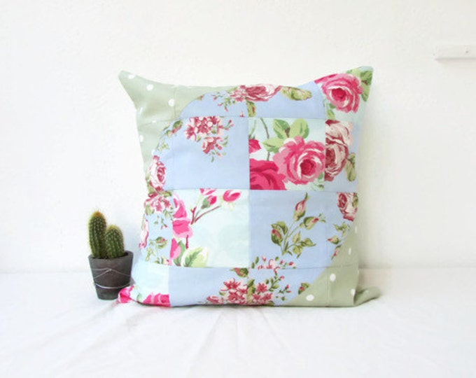 Floral patchwork cushion cover,  modern patchwork pillow, 16 inch 40 cms cushion, country chic cushion, country decor, handmade in the UK