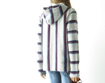Hooded Baja Poncho drug rug striped woven vintage 90s grunge revival hood blue red Blue Hippie Wool cotton Pullover Jacket Top Oversized M/S