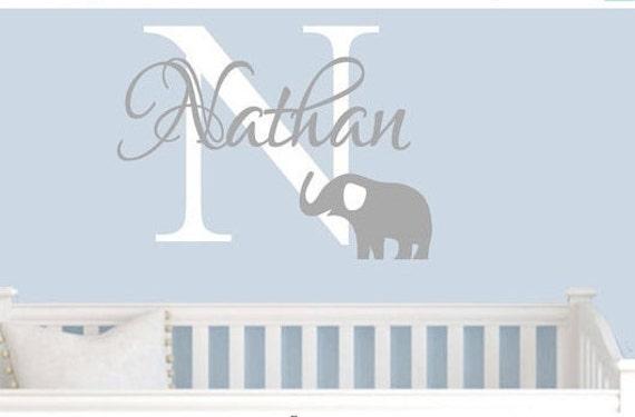 Elephant wall decal elephant nursery nursery by for Elephant mural nursery