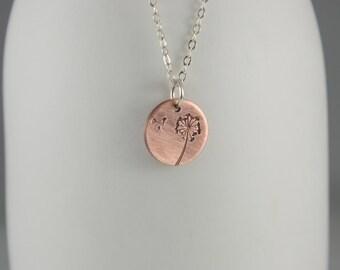 Dandelion Necklace, Copper Dandelion Pendant, Mixed Metal Necklace