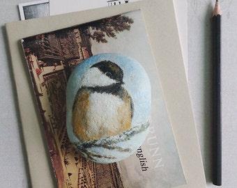 Hand painted bird, beach rock art.