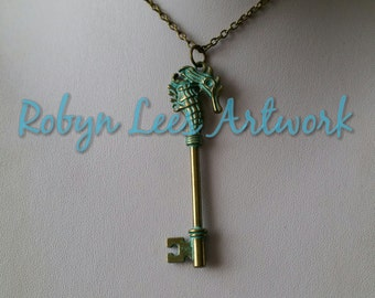 Large Bronze & Blue Green Patina Seahorse Key Necklace on Bronze Crossed Chain, Nautical, Surfer, Animals, Beach, Ocean, Holiday