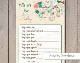 Teal and Coral Wishes for Baby Card , INSTANT DOWNLOAD, Birdcages, Birds, Cages, Printable, Baby Shower 123