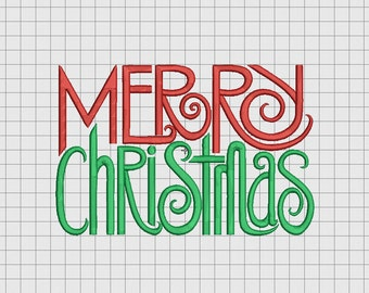 Merry Christmas Simple Script Embroidery Design in 4x4 5x7 and 6x10 Sizes