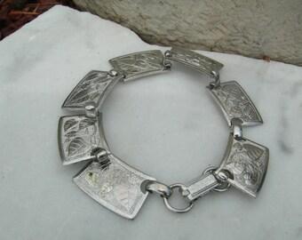 Vine Engraved Link Bracelet Vintage Vine  Leaf Motif Silver Bracelet