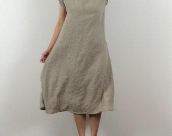 Flared Linen T-Shirt Dress / Swing / Loose