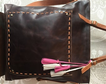 Brown leather tote, laptop tote bag, large crossbody purse, brown leather bag