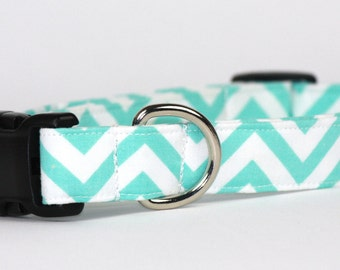 Dog Collar, Pet Collar, Adjustable Collar, Cotton Dog Collar, Fabric Dog Collar, Soft Dog Collar, Aqua Chevron Cotton, Large Dog Collar