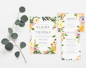 Printable Wedding Invitation Set | Watercolor Floral Invitations | Flower Invitation Set | Invitation Suite | Whimsy Rustic Invites | WI-001