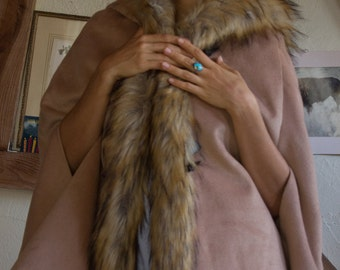 """Vintage faux fur tan cape with hood """"Pink Lady"""" tag"""