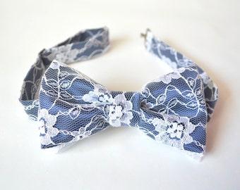 Navy Bow Tie, Lace Bow Tie, Nautical Wedding Tie, Nautical Bow Tie, Navy Wedding, Pre-tied Bow Tie, Adjustable Bow Tie, Blue Wedding Tie