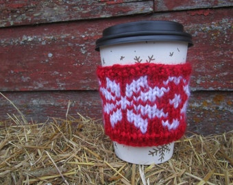 Fair Isle Coffee Cup Cozy, Handknitted