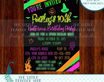 Tween, Teen, Halloween Sleepover, Masquerade, Neon, Glow doodle birthday party invitation!! Digital-printable-invite!!