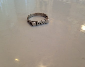 "Vintage Sterling Silver ""RR"" Flat Face Ring - Size 6.5"
