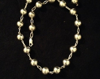 Vintage Sterling Silver Beaded Necklace