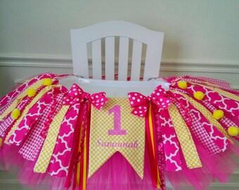 Sunshine High Chair Banner, High Chair Tutu, Lemonade Birthday, Lemonade Birthday, Personalized Banner