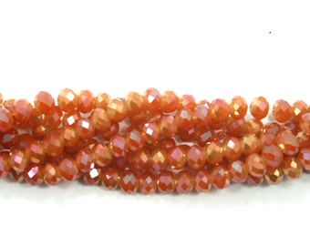 Crystal Beads,8mm,Copper Brown Color,Crystal rondelle beads,Faceted Crystal Beads