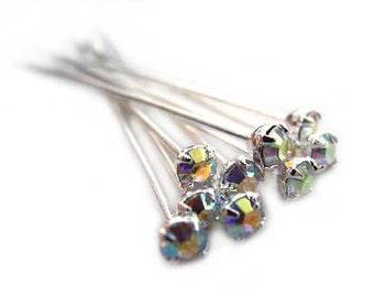 Swarovski Headpins,12 pcs,Crystal ab Crystal Headpins,Head Pins For making Earrings,Jewelry,Crystal Head Pins,Silver Plated Headpins