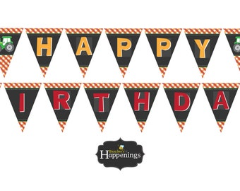 Tractor Birthday Banner Tractor Fall Banner Tractor Birthday Decorations Pumpkin Patch Banner Digital File by Busy bee's Happenings