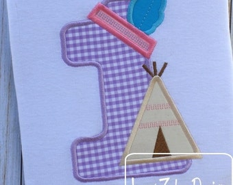 Teepee One Appliqué Embroidery Design - 1st birthday appliqué design - one year old - first birthday appliqué - birthday appliqué design