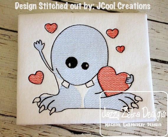 Monster Love Sketch Embroidery Design - Valentines day sketch embroidery design - Valentine sketch embroidery design