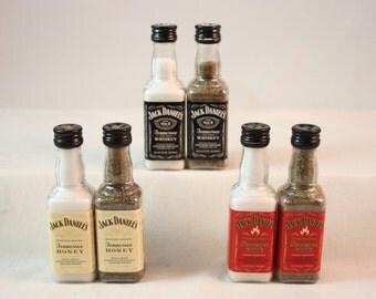 Plastic Mini Whiskey Bottle Salt and Pepper Shaker Set, Upcycled Mini Liquor Bottles