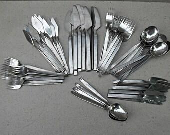 "Set of Amboss Austria 2070 flatware /cutlery. Helmut Adler 1960s.""Amboss Austria ,Rostfrei ,18/8"".  vintage Amboss Austria ciutlary"