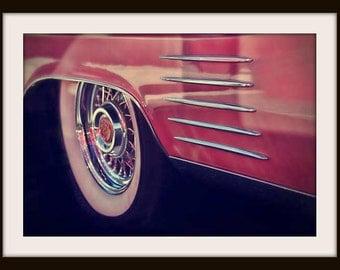 Classic Car Photography, Hot Rod Art, Cadillac, 1950s Wall Art, Diner Decor, Auto Art, Pink, Americana, Colorful Wall Art