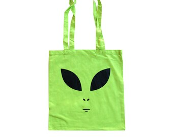 Neon Green 90's Alien Face Tote Bag