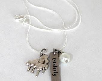 Piano Lover Personalized Name Tag Necklace