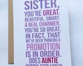 Neue Tante Karte / erstmals Tante / Baby Ankündigung / Familie Baby Ankündigung / Schwangerschaft offenbaren Karte