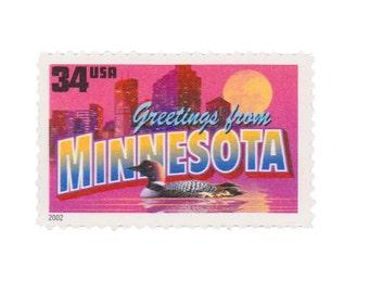 5 Unused US Postage Stamps - 2002 34c Greetings from Minnesota - Item No. 3583