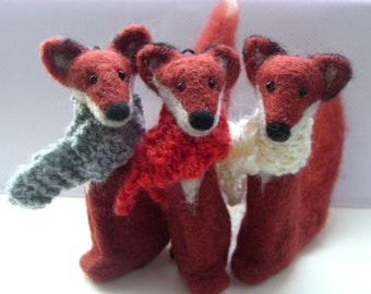 Needle felted fox, Wool fox, Red fox, Animal sculpture, Fox ornament