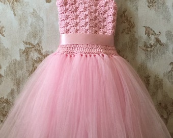 Pink flower girl tutu dress, birthday tutu dress, crochet tutu dress, corset tutu dress
