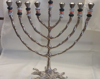Pandora Bead Tree of Life Menorah in Black and White Colors.