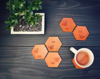 6 Personalized Leather Coasters, Custom Leather Coaster set, Hexagonal Geometric, Handmade housewarming wedding anniversary gift. Honey Bee