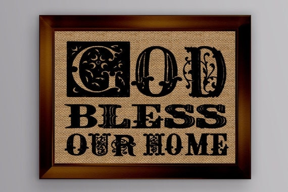 god bless our home burlap sign burlap print wall d cor wall. Black Bedroom Furniture Sets. Home Design Ideas