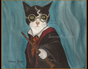 Harry Potter Cat, ready to cast a spell, with his wand, enchanting -  Card or Print, Drawing with watercolor accents,  Item #0435a