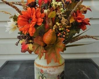 Fall arrangement, harvest decor, Thanksgiving decor, tabletop decor, floral centerpiece, fall decor