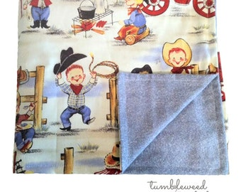 Vintge Cowboy Baby/Toddler Blanket with Flannel Backing