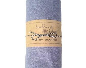 Denim Like Flannel Baby Receiving Blanket /Swaddle Blanket/Newborn Blanket