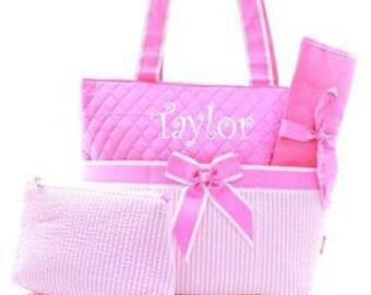 Personalized Diaper Bag Diaper Bag Monogrammed Diaper Bag  Pink Seersucker
