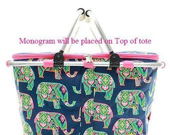 Monogrammed Market Bag  Monogrammed Insulated Market Tote  Pink Elephant Picnic Tote